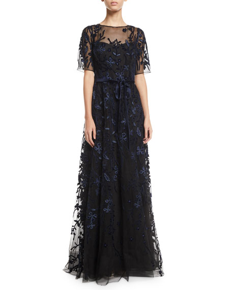 Rickie Freeman for Teri Jon Lace & Velvet Floral A-line Gown