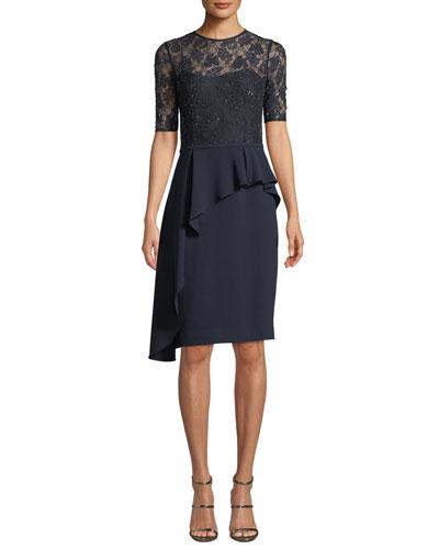 Bead & Embroidery Asymmetric Peplum Dress