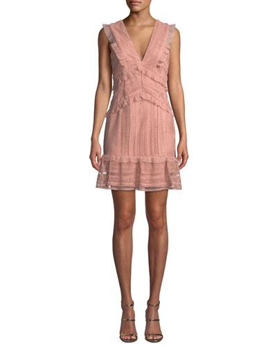 Kristen V-Neck Sleeveless Lace Dress w/ Ruffled Trim