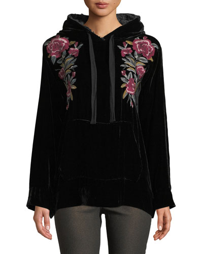 Marmont Velvet Hoodie w/ Floral Embroidery, Petite