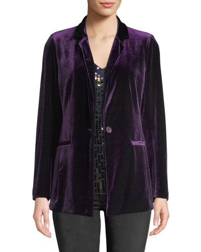 Plus Size One-Button Velvet Jacket