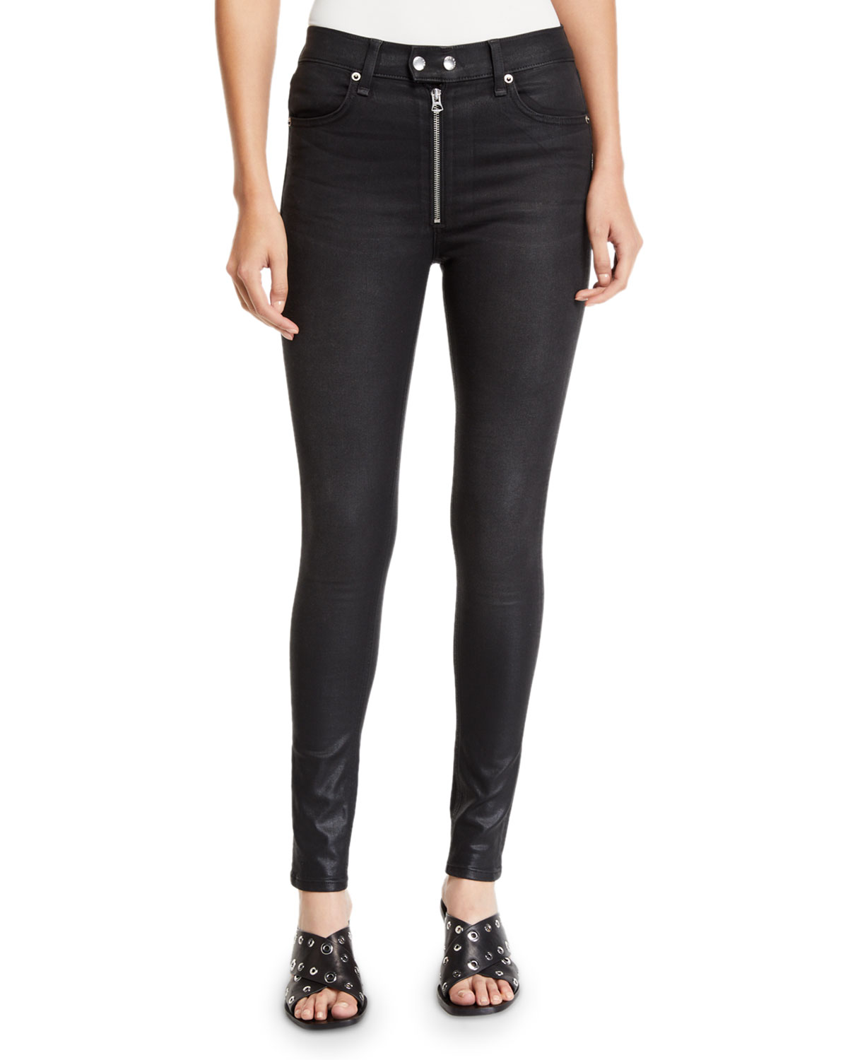 Rag & Bone Coats BAXTER COATED ANKLE SKINNY JEANS WITH EXPOSED ZIP