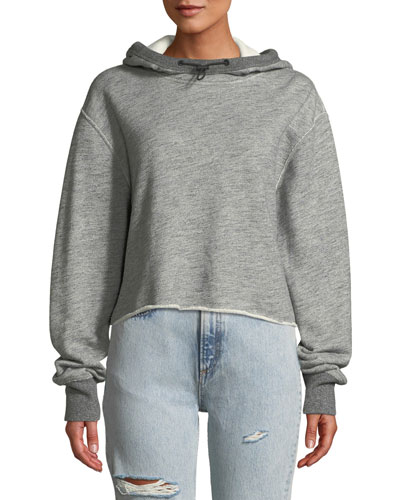 Sweat Raw-Edge Cotton Pullover Hoodie