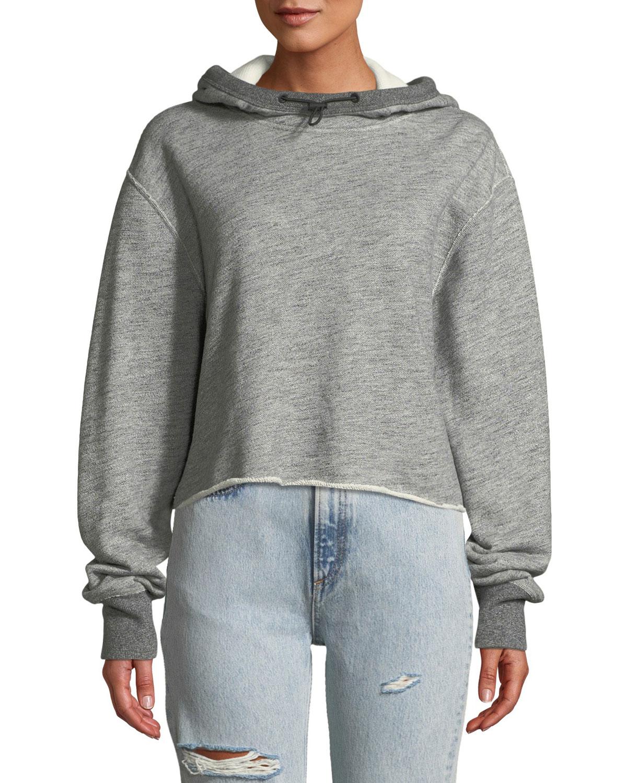 Sweat Raw-Edge Cotton Pullover Hoodie in Heather Grey