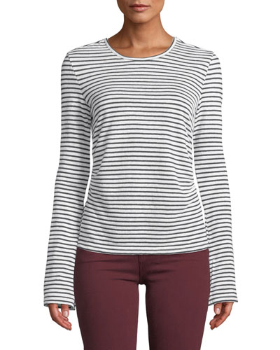 Striped Bell-Sleeve Linen Tee