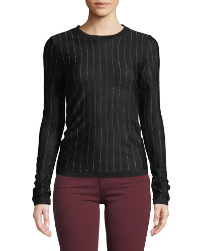 Striped Metallic Wool-Blend Long-Sleeve Top