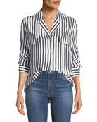 FRAME Striped Silk Button-Front Long-Sleeve Top
