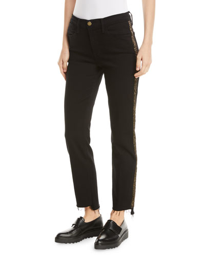 Le High Straight Stagger-Hem Jeans with Velvet Stripes