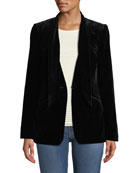FRAME Velvet Tie Single-Button Jacket