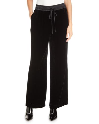 Velvet Drawstring Wide-Leg Track Pants