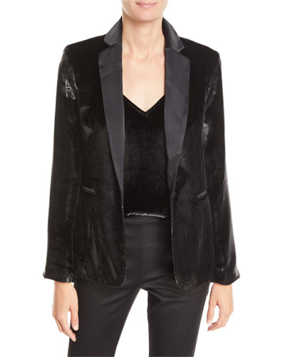 Metallic Satin Single-Button Blazer