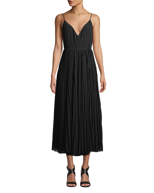 AIJEK Vida Pleated Wrap Maxi Dress in Black