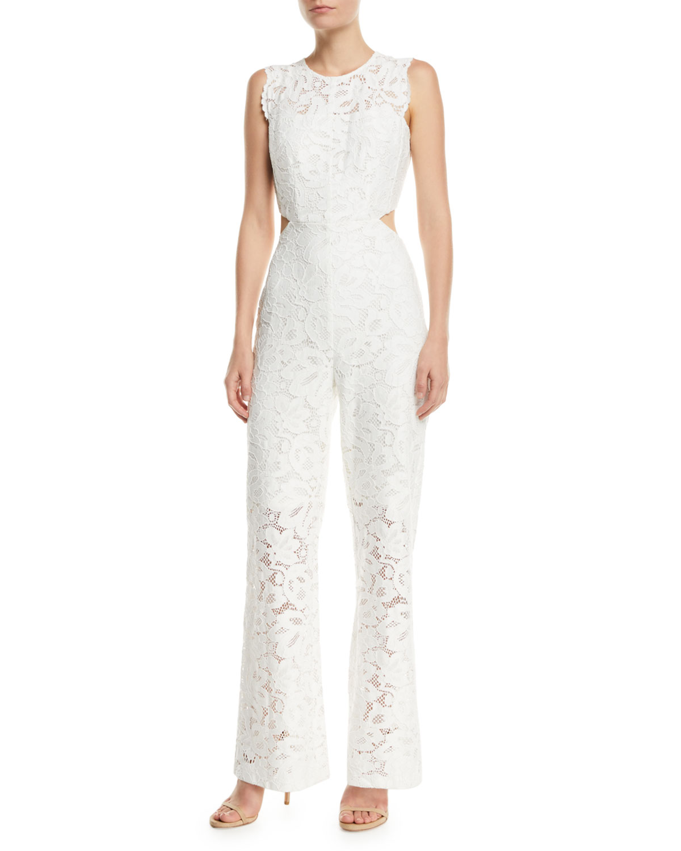 AIJEK Galella Sleeveless Lace Jumpsuit in White