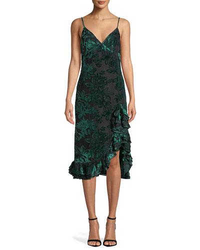 Elvira Velvet Burnout Ruffle Slip Dress