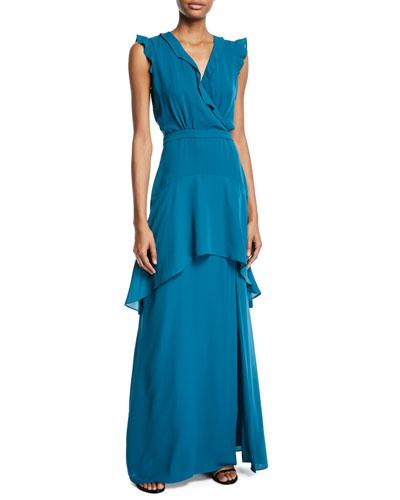Jaden Sleeveless Ruffle-Trim Dress