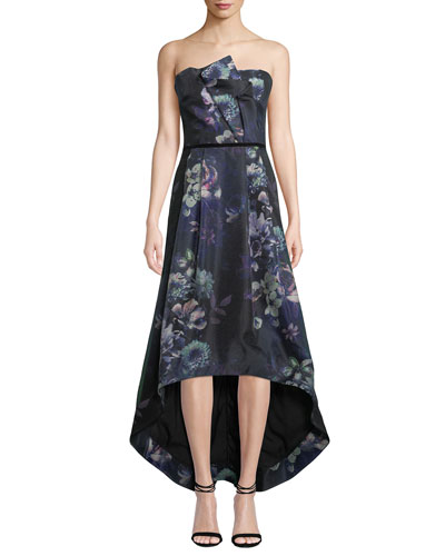 Estelle Strapless Floral High-Low Dress