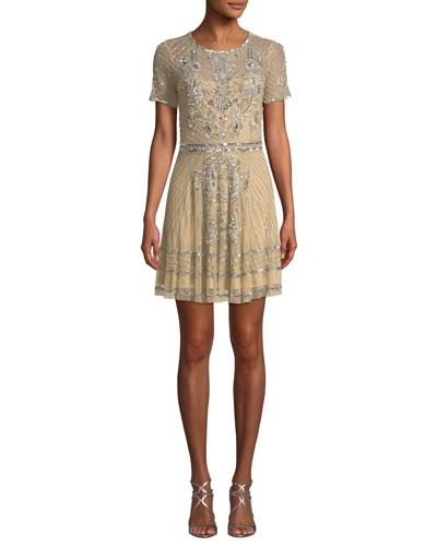 Daisy Embellished Mini Dress