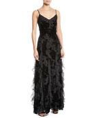 Parker Black Equinox Velvet Flower Cascade Gown Dress