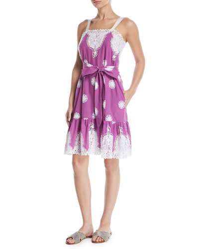 Mindy Sleeveless Belted Embroidered Cotton Sun Dress