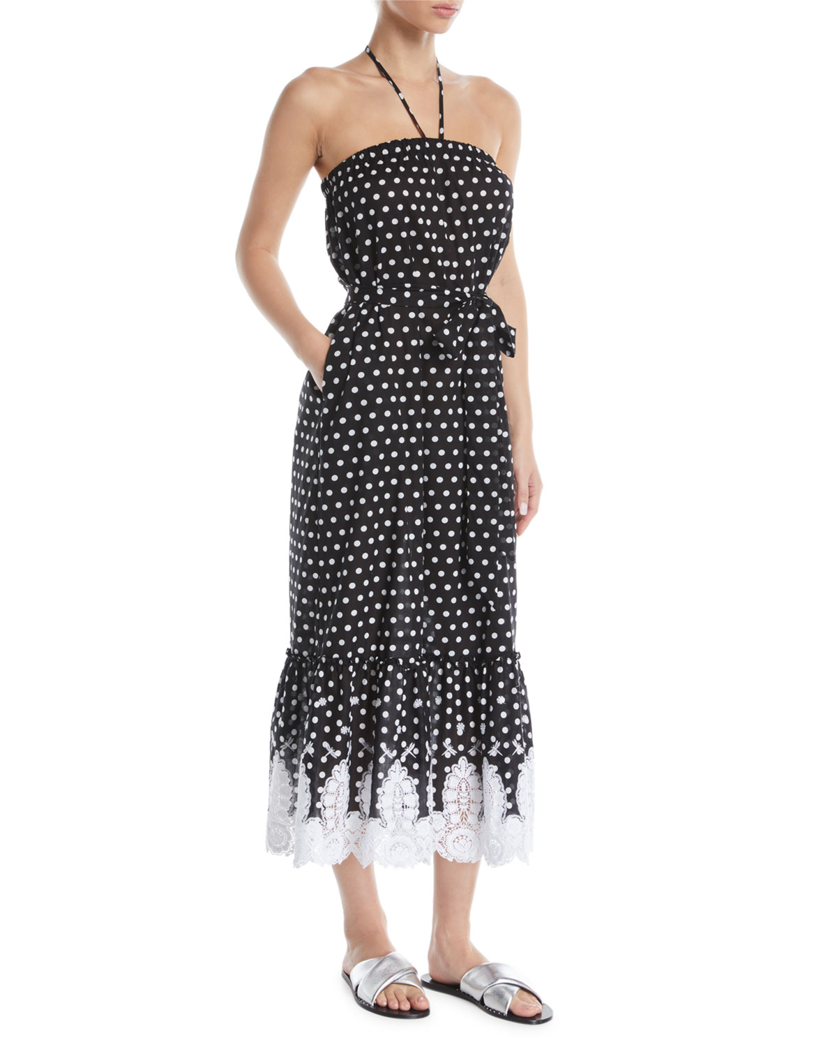 Miguelina EMERY STRAPLESS POLKA-DOT MIDI DRESS W/ LACE HEM
