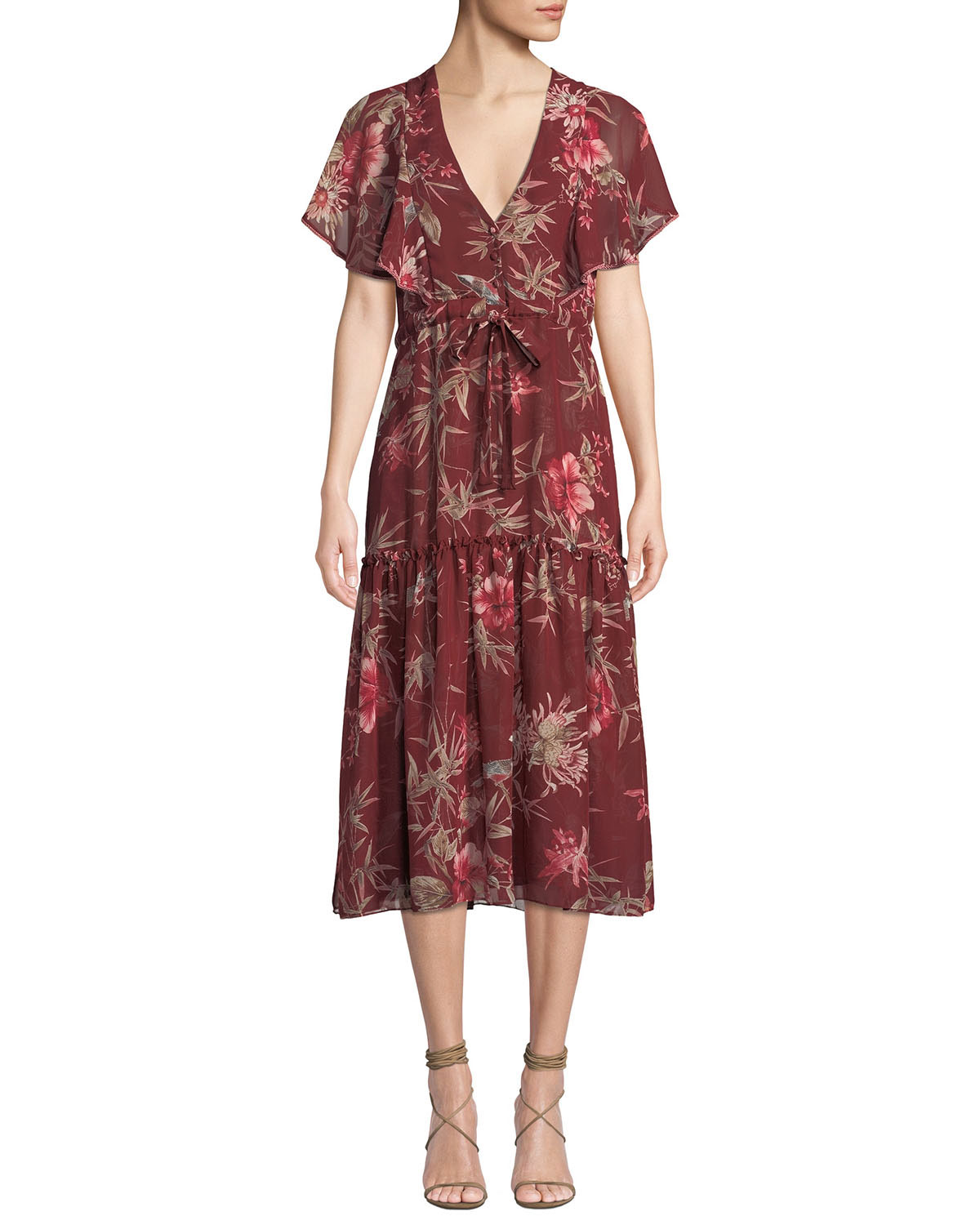 Misa VERONIQUE FLORAL SHORT-SLEEVE MIDI DRESS