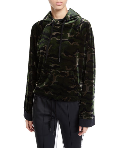 Camo-Print Velour Pullover Hoodie