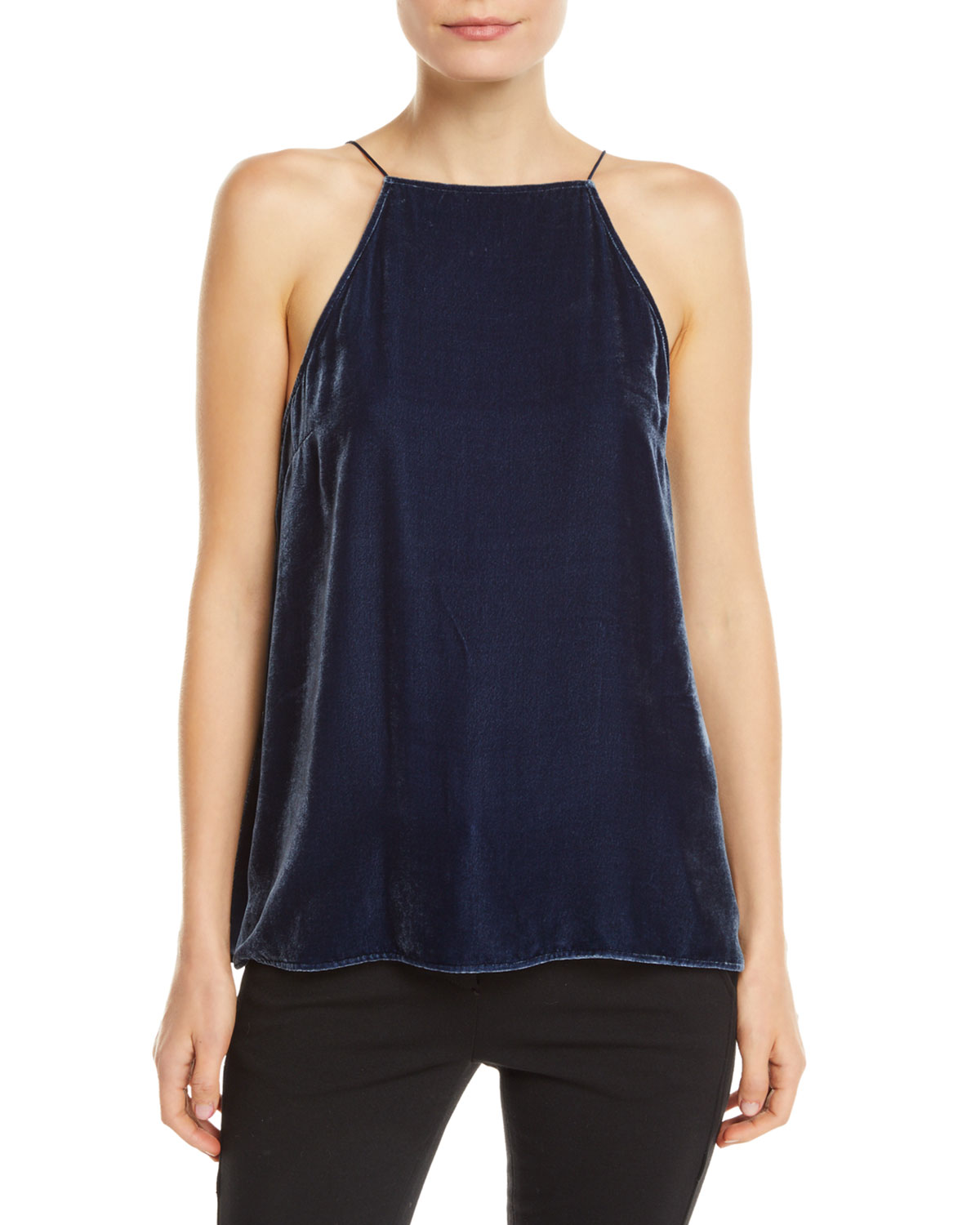 CAMI NYC The Charlie Velvet Lace-Up Cami in Dark Blue