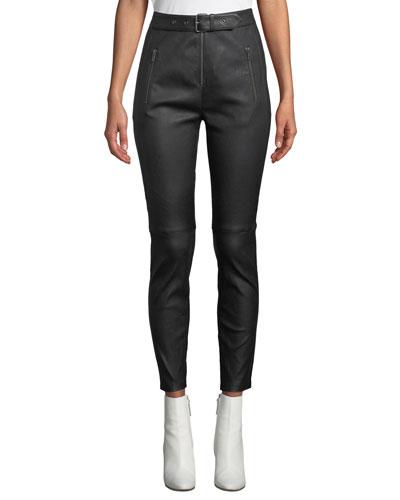 Kamil High-Waist Skinny-Leg Lamb Leather Pants