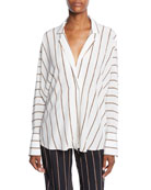 A.L.C. Noreen Striped Long-Sleeve Silk Top and Matching