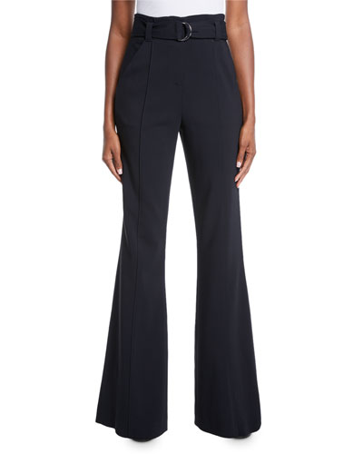 Foster Belted Flare-Leg Crepe Pants
