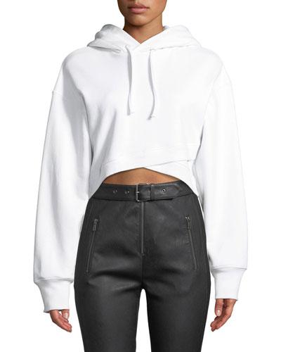 Jenna Hooded Cropped Cross-Front Sweatshirt