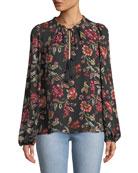 A.L.C. Royan Tie-Neck Long-Sleeve Floral-Print Silk Top