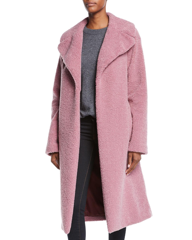 Harlan Bouclé Coat - Pink Size L in Mauve
