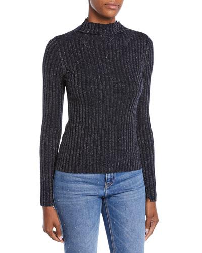 Lamont Ribbed Metallic Turtleneck Sweater