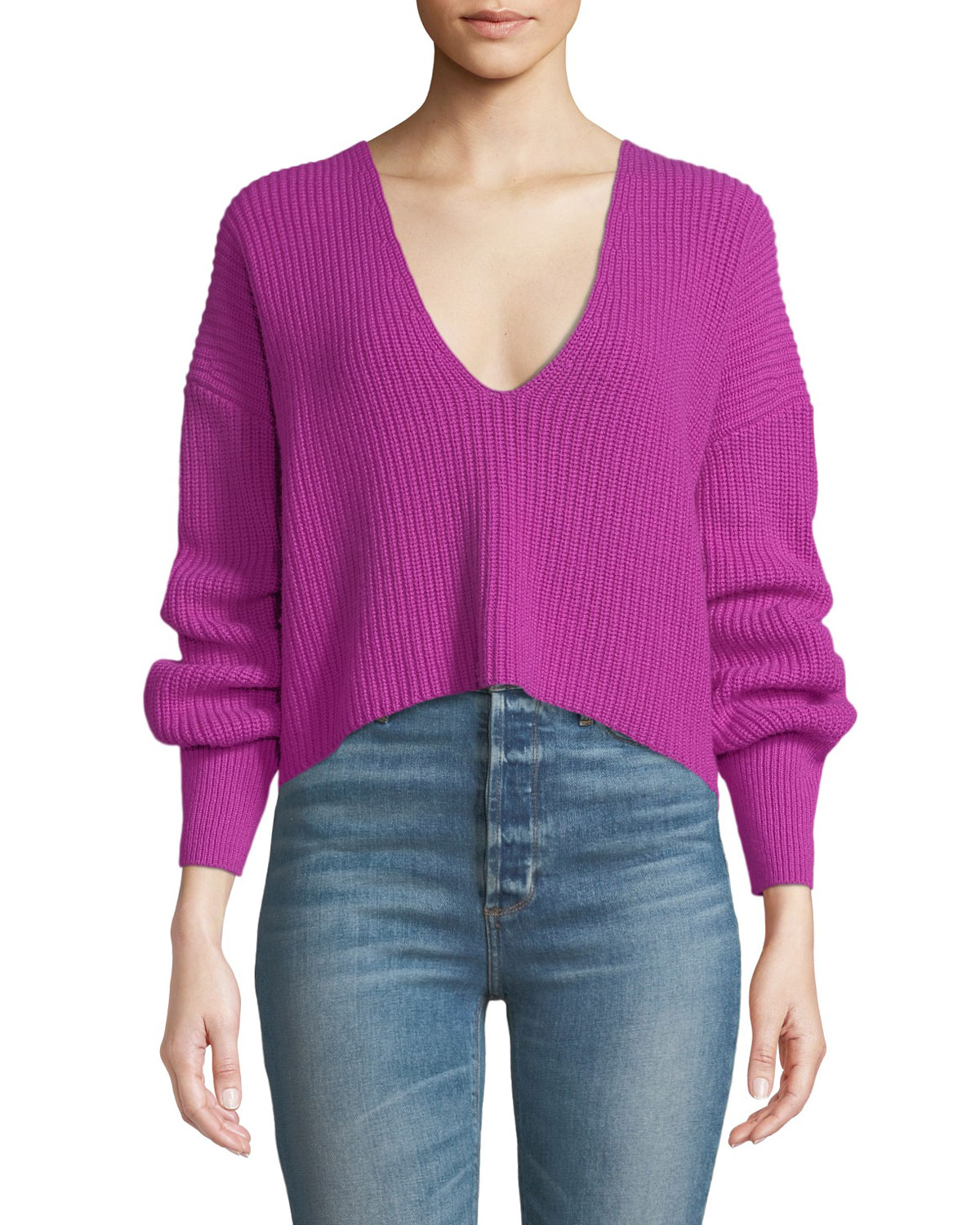 Melanie Rib-Knit Wool Sweater - Pink Size S