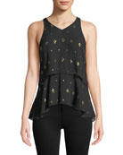 A.L.C. Duran Tiered Sleeveless Metallic Top