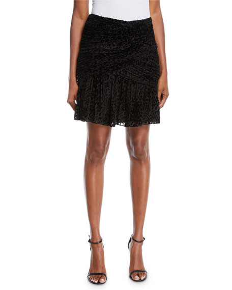 A.L.C. Corey Animal-Print Velvet Burnout Skirt