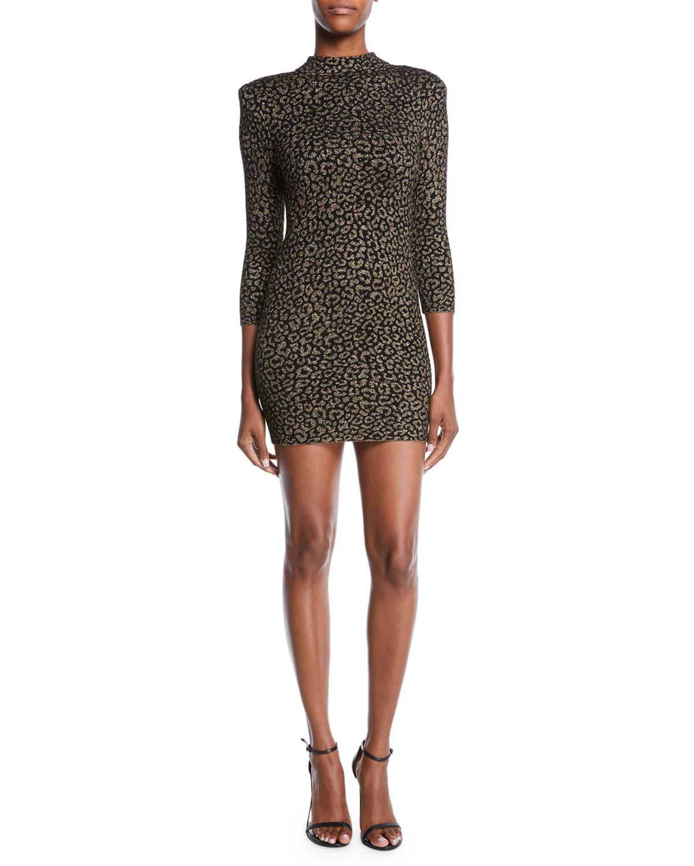Mahry Fitted Metallic Animal-Print Short Dress