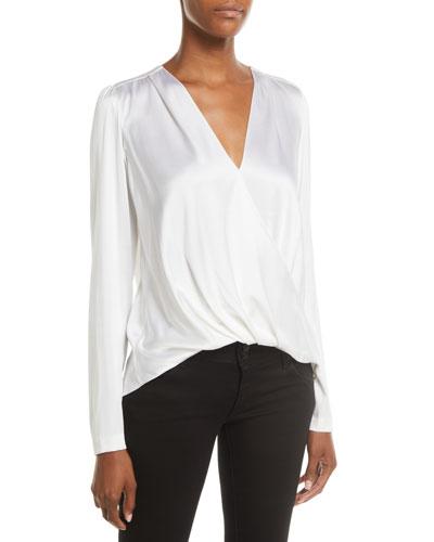 bbb036911c03f Quick Look. A.L.C. · Harmon Draped Long-Sleeve Silk Top