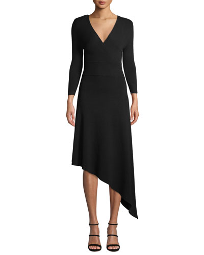 Morrow V-Neck Long-Sleeve Asymmetrical Dress