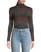 A.L.C. Mariel Striped Turtleneck Metallic Sweater