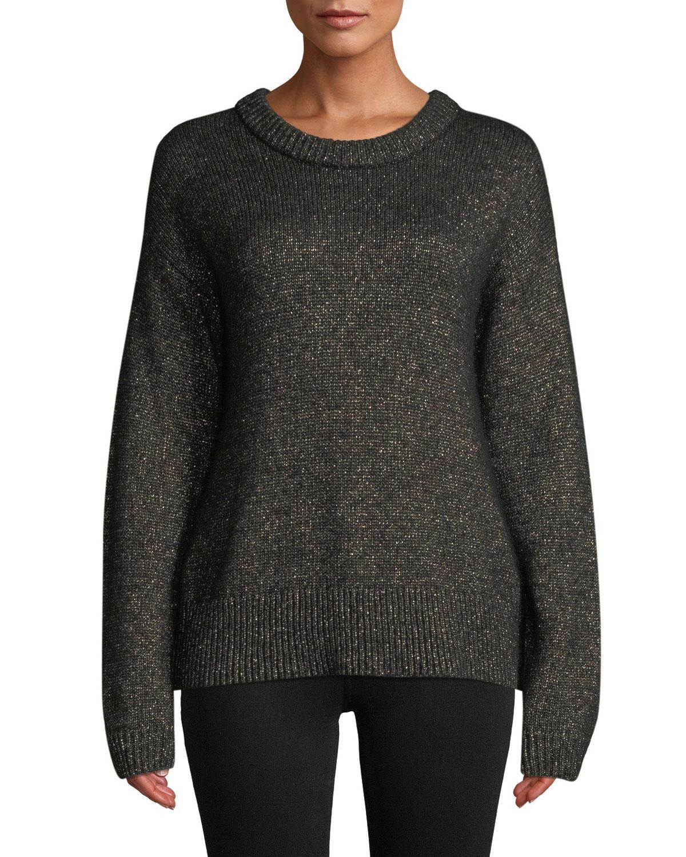 A.L.C Bowen Metallic Pullover Sweater in Black/ Gold