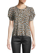 A.L.C. Kati Leopard-Print Puff-Sleeve Tee