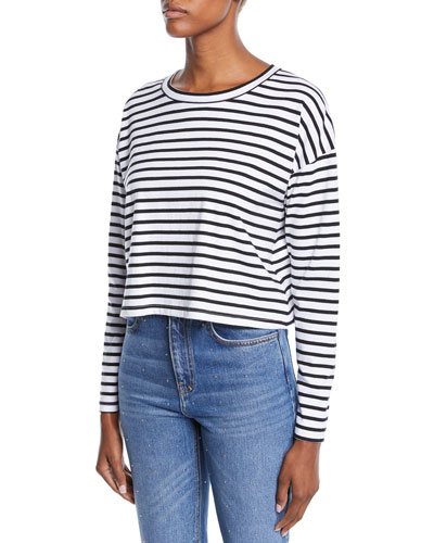 Roberts Striped Long-Sleeve Cropped Tee