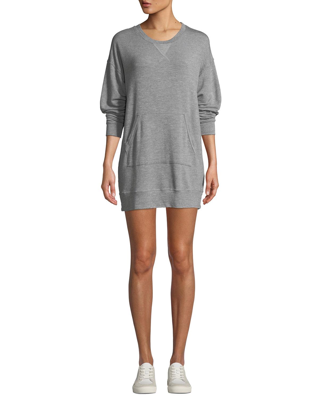 Classic Crewneck Pullover Sweatshirt Dress, Gray