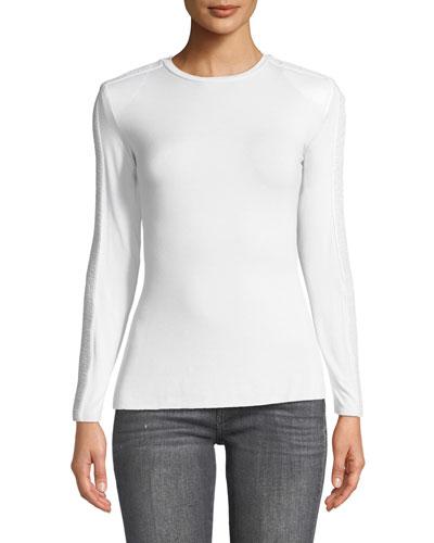 Long Shot Textured Long-Sleeve Jersey Top