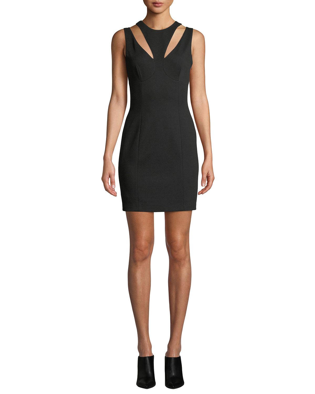 BAILEY44 Deuce Ponte Cutout Mini Dress in Black