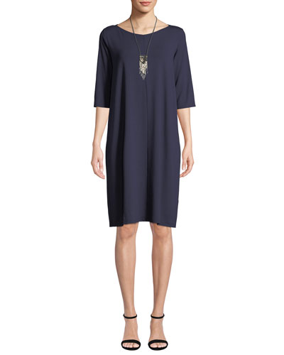 V-Neck Elbow-Sleeve Jersey Shift Dress