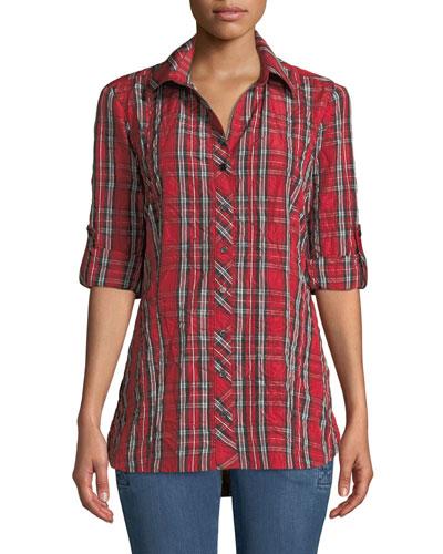 Joey Plaid Roll-Tab Shirt