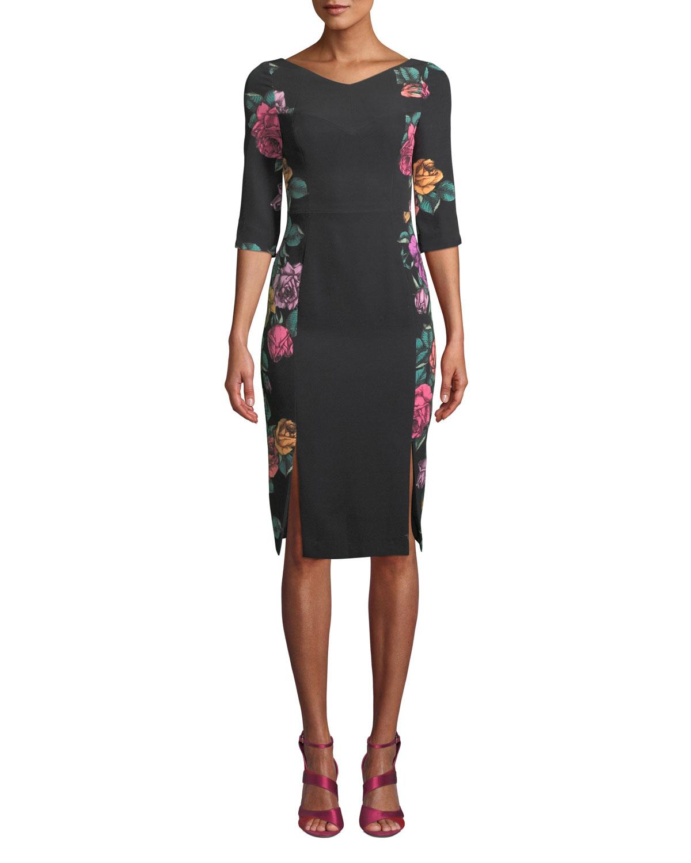 Double-Slit Prism Floral-Print Dress